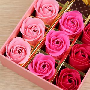 1Pc Gold Leaf Artificial Flower and 12Pcs Soap Roses with Box -