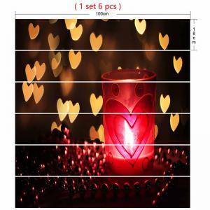 Valentine's Day Hearts and Candle Lamp Print Stair Stickers -