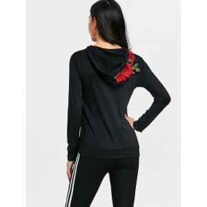 Floral Applique Drawstring Gym Hoodie -