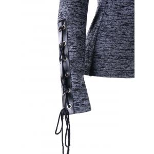 Lace Up Marled Drawstring Neck Hoodie -