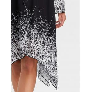 Linear Print Asymmetric Chiffon Dress -