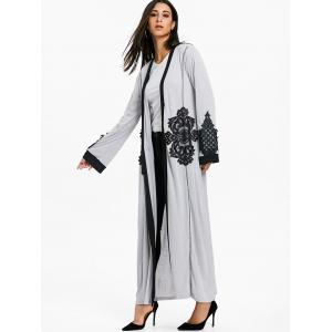 Lace Panel Open Front Maxi Coat -