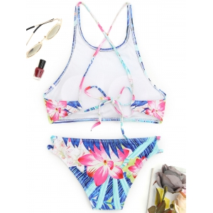 High Neck Floral Cut Out Bikini -