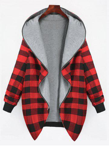 Sale Full Zip Up Plus Size Plaid Hooded Coat