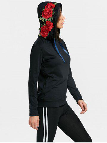 Outfit Floral Applique Drawstring Gym Hoodie