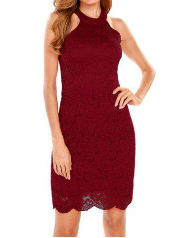 Discount Halter Bodycon Lace Dress