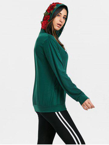 Store Floral Applique Drawstring Gym Hoodie
