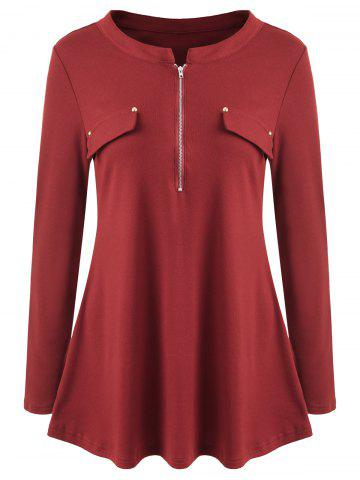Long Sleeve Zipper Tunic Tee