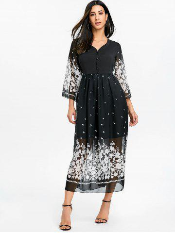 Floral Bell Sleeve Midi Chiffon Dress