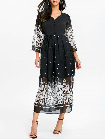 Fancy Floral Bell Sleeve Midi Chiffon Dress