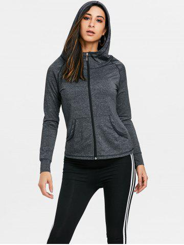 Fancy Raglan Sleeve Zipper Hooded Gym Jacket