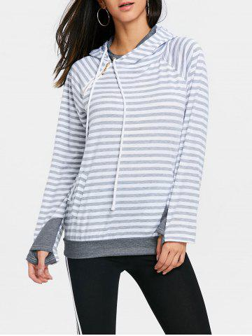 Online Striped Raglan Sleeve Drawstring Sports Hoodie