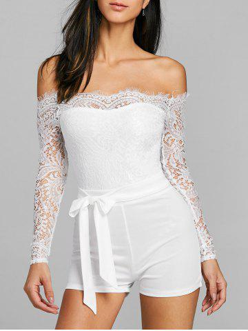 Chic Lace Off The Shoulder Belted Romper