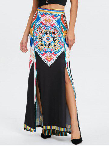 Outfit Bohemian Tribal Print High Waisted Maxi Skirt