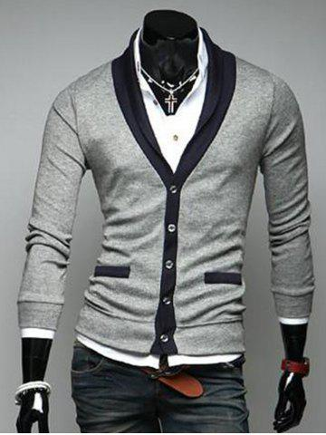 Outfits V Neck Button Up Color Block Cardigan