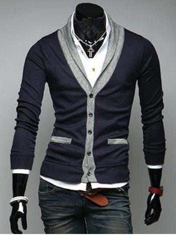 Cheap V Neck Button Up Color Block Cardigan