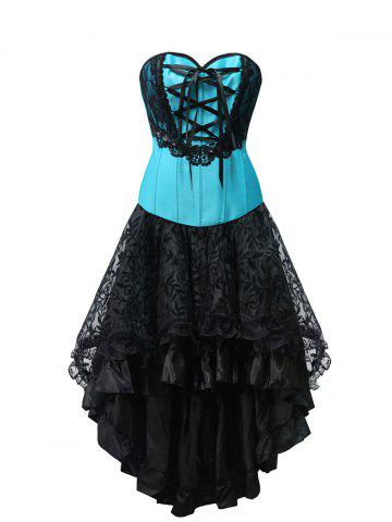 Chic High Low Lace Up Strapless Corset Dress