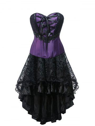Store High Low Lace Up Strapless Corset Dress