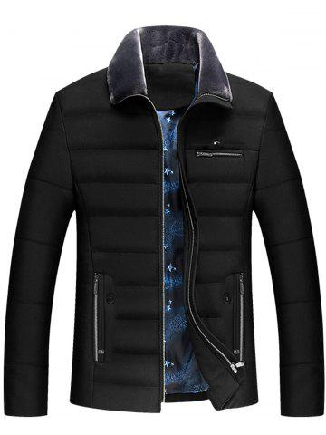 Zippers Faux Fur Collar Padded Jacket