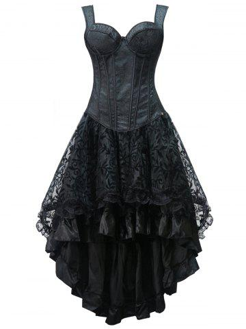 Cheap High Low Lace Up Steel Boned Corset Dress