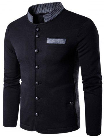 Knitted Panel Single Breasted Jacket