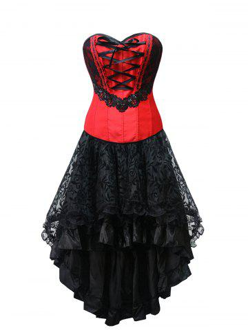 Fashion High Low Lace Up Strapless Corset Dress
