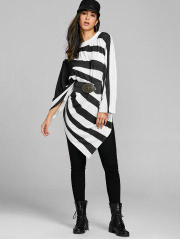 Asymmetrical Stripe Batwing Sleeve Tunic Top