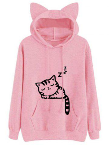 Sale Drawstring Sleeping Cat Pattern Pullover Hoodie