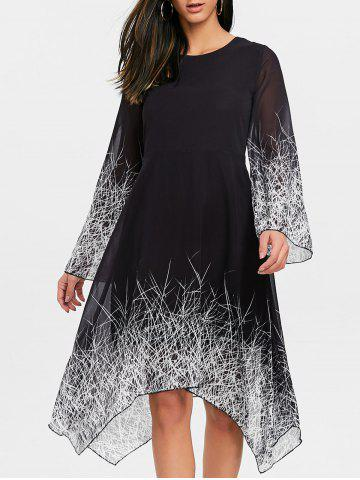 Shops Linear Print Asymmetric Chiffon Dress
