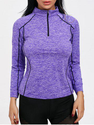 Discount Sports Contrast  Half Zip High Neck T-shirt