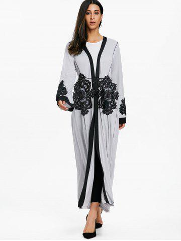 Outfits Lace Panel Open Front Maxi Coat