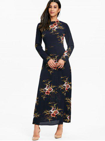 Cut Out Floral Maxi A Line Dress