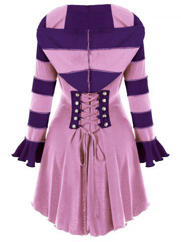 Hooded High Low Corset Double Breasted Coat