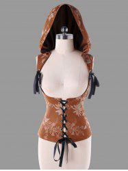 Lace Up Hooded Jacquard Corset Top -