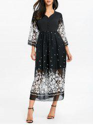Floral Bell Sleeve Midi Chiffon Dress -