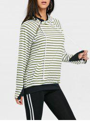 Striped Raglan Sleeve Drawstring Sports Hoodie -