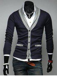 V Neck Button Up Color Block Cardigan -