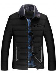 Zippers Faux Fur Collar Padded Jacket -