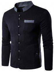 Knitted Panel Single Breasted Jacket -