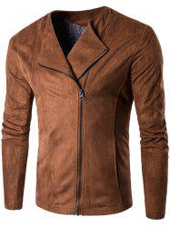 Zip Up Faux Suede Veste -