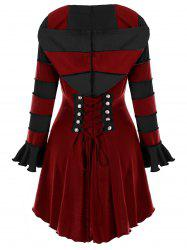 Hooded High Low Corset Double Breasted Coat -