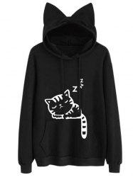 Drawstring Sleeping Cat Pattern Pullover Hoodie -