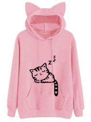 Sweat à Capuche à Motif Chat Endormi à Cordon de Serrage - Rose  L
