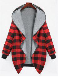 Full Zip Up Plus Size Plaid Hooded Coat -
