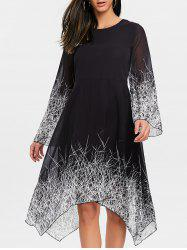 Linear Print Asymmetric Chiffon Dress - Black - Xl