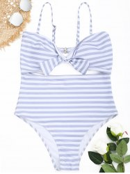 Striped Cutout Plus Size Swimsuit -