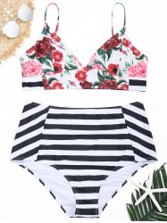 Floral Striped Plus Size High Waisted Bikini Set -