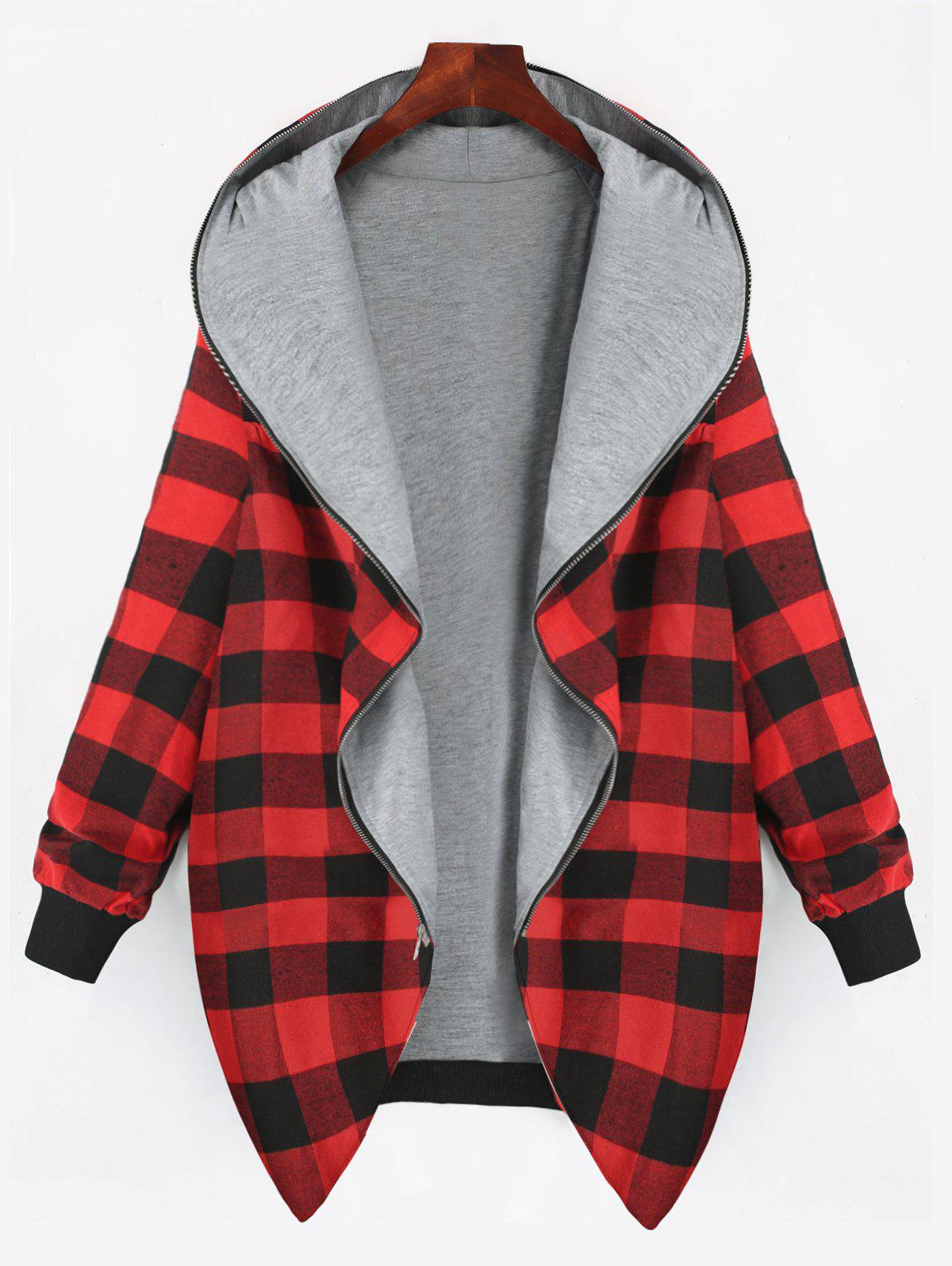 Unique Full Zip Up Plus Size Plaid Hooded Coat