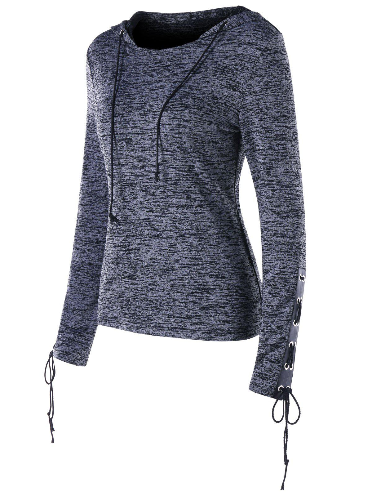 Best Lace Up Marled Drawstring Neck Hoodie