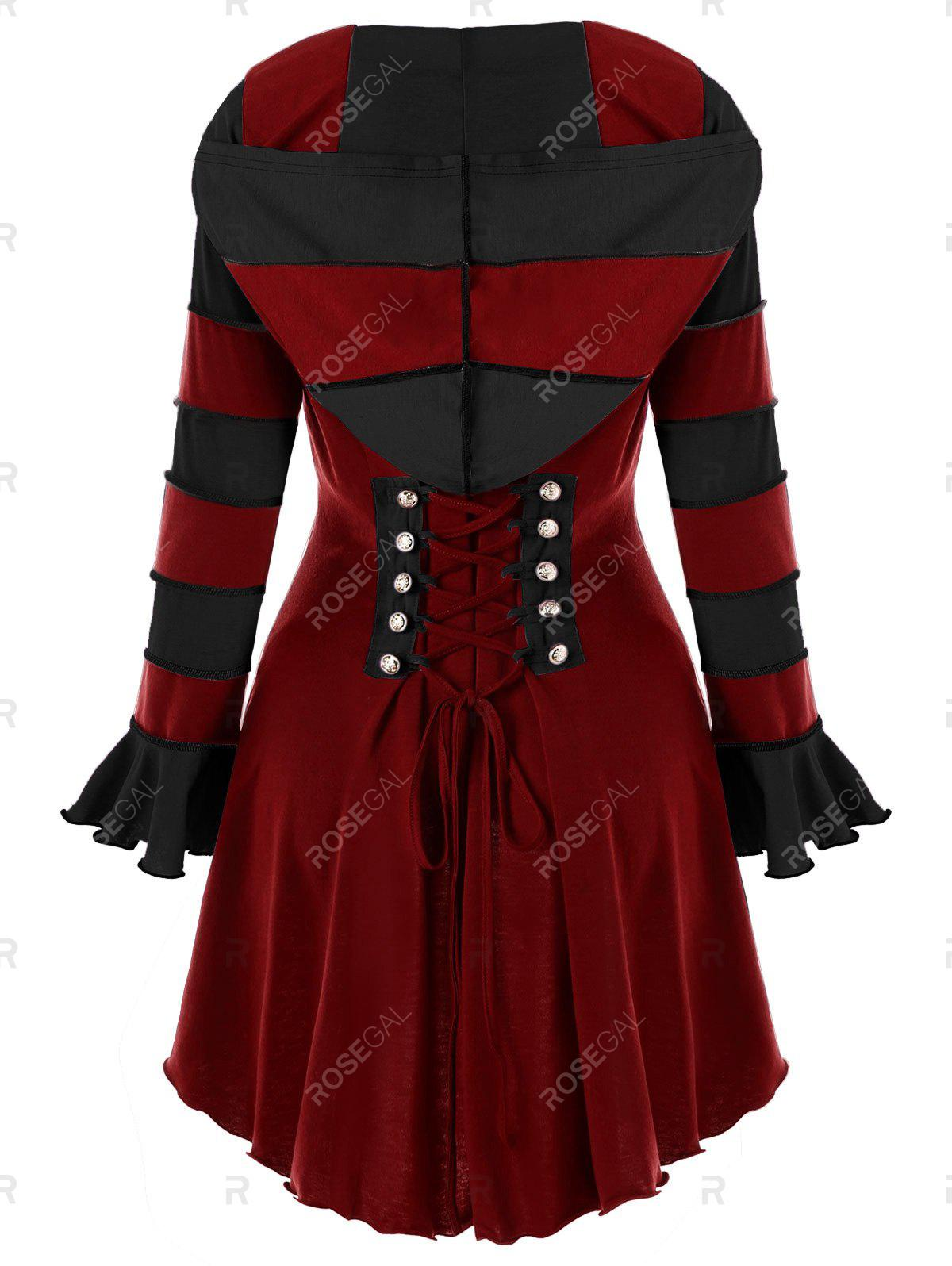 Latest Hooded High Low Corset Double Breasted Coat